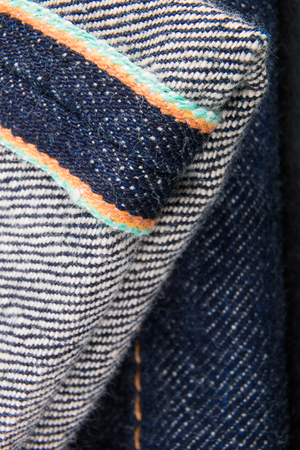 Close up of jeans fragment selvage. Denim Stock Photo