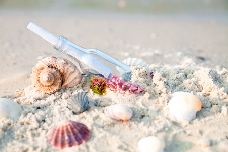 castaway: Bottle with a message or letter on the beach near seashell. SOS. Stock Photo