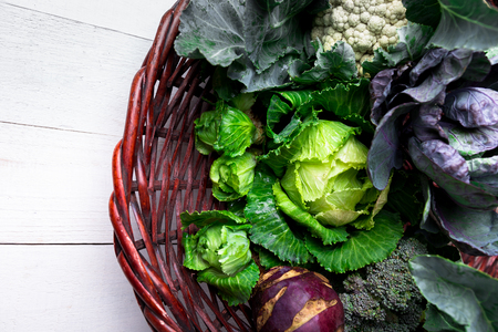 Various of Cabbage Broccoli Cauliflower. Assorted of Cabbages in Basket