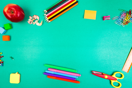 School Supplies. Concept Back to School. Top View. Flat Lay