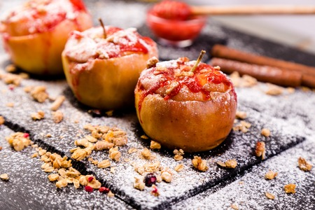 Red Baked Apples Stuffed Cottage Cheese And Granola with Jam. Healthy Diet Food