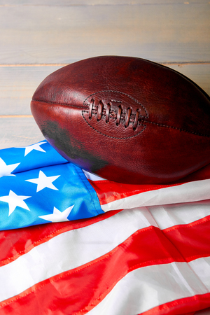 American football ball and old glory flag. Copy space. USa. Patriotic. Stock Photo