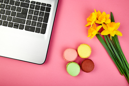 Woman or feminine workspace with laptop, notebook, macarons, and flowers narcissus on pink table. Top view. Flat lay. Copy space.