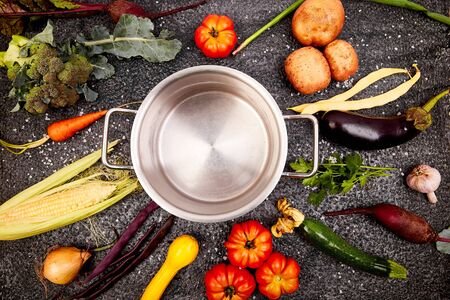 Various organic vegetables ingredients around empty cooking pot on black background. top view. Flat lay.
