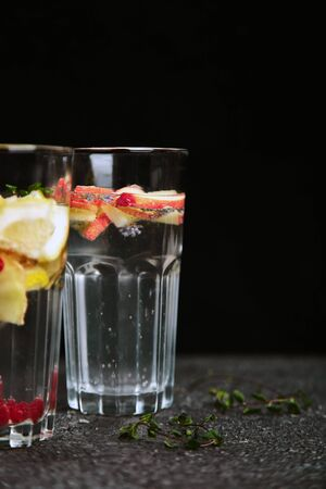 Variety of Detox infused water. Diet. Healthy drink. Stock Photo