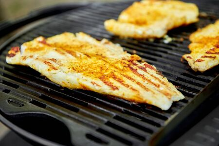 Grilled pike fillet on the gas grill. Grilled seafood. Barbecue fish. Copy space. Healthy food.