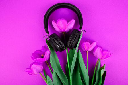 Black Headphones and red bouquet tulips on red background. Flat lay. Top view. Copy space. Listen to the music. 写真素材