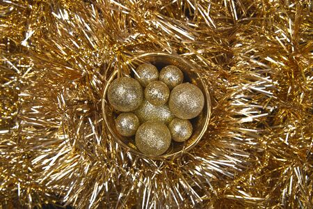 Holiday pattern made christmas balls in gold cup