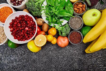 Selection of Best High Alkaline Foods. Vegan, alkaline diet concept. Free for trext. Top view.