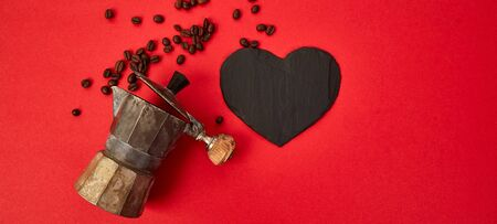 Banner of Flat lay of Coffee maker and coffee beans on red background. Coffees love concept. Moka coffee pot. Espresso maker. Process of making natural coffee from beans. Top view. Copy space.