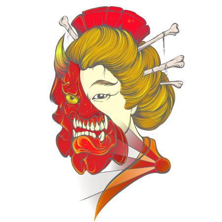 Geisha Khania Vector Tattoo Design Idea Illustration