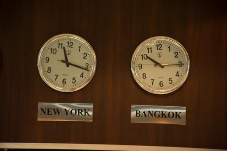 newyork: The time between Newyork and Bangkok on Brown wall