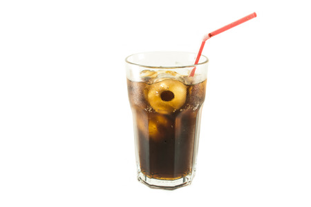 red straw: Glass of cola red straw with roll ice isolate white background Stock Photo