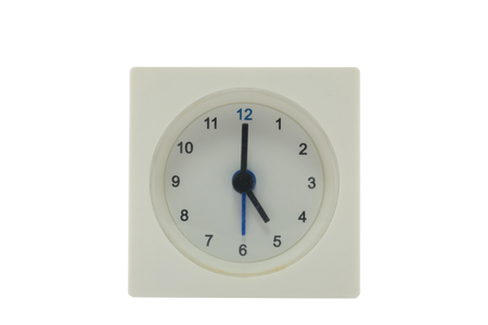 five o'clock: The time is now 17.00 PM,relax time,  lunch time, isolated white background with path