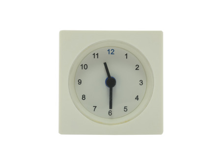 white work: The time is now 11.30 AM,work time, meeting time, isolated white background with path Stock Photo