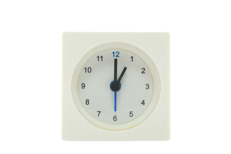 12 13: The time is now 13.00,relax time,  lunch time, isolated white background with path Stock Photo