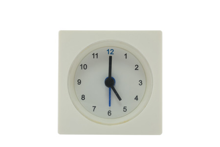 pm: The time is now 17.00 PM,relax time,  lunch time, isolated white background with path