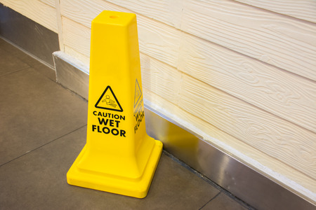 mopped: Caution wet floor sign
