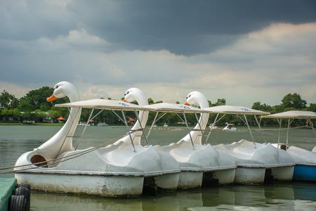 thunderstorm: Duck boat before under thunderstorm Stock Photo