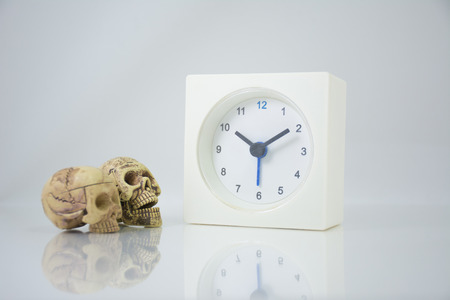 The time is now 10.15 am, coffee break time, relax time. with skulls Imagens - 45661399