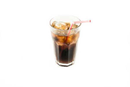 highball: Glass of cola red straw with roll ice isolate white background Stock Photo