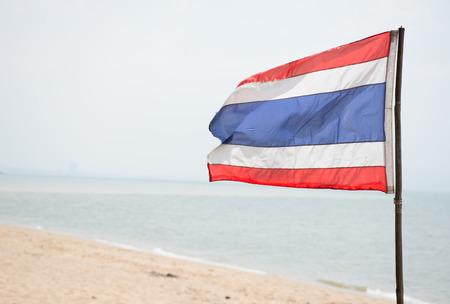thai flag: Thai flag on the beach