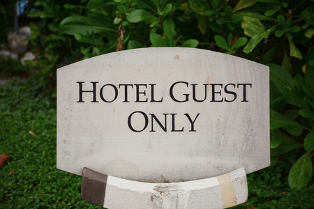 and only: Hotel guest only sign, Thailand Stock Photo