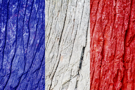cement floor: France Flag on wood texture background Stock Photo