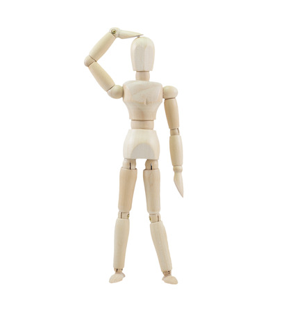 Wooden mannequin on isolate white background.