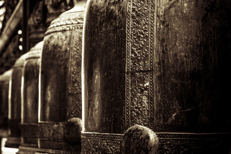 hight: The bells in buddhism temple, Thailand - retro hight contrast style