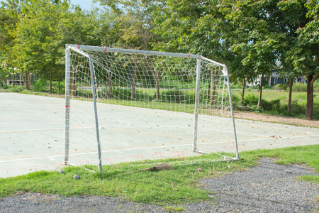 Soccer Goal or Football Goal from angle rear view Imagens