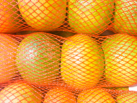 Fresh oranges in Mesh bag close up, healthy tropical fruits from supermarket. Food retail. Imagens