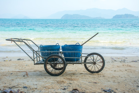 Bin on cart in the beautiful beach at koh wai, trat, thailand.