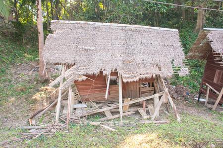 Old abandoned broken hut in thailand