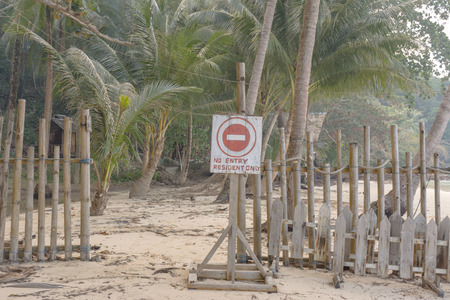 No entry resident only sign on the private beach at koh wai island, Trat, Thailand. Imagens