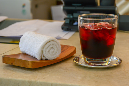 Welcome drink, Roselle juice and cold towels in luxury hotel