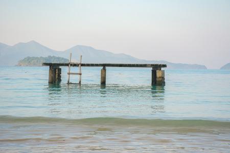 Wooden pier sea platform on koh wai island, Trat, Thailand
