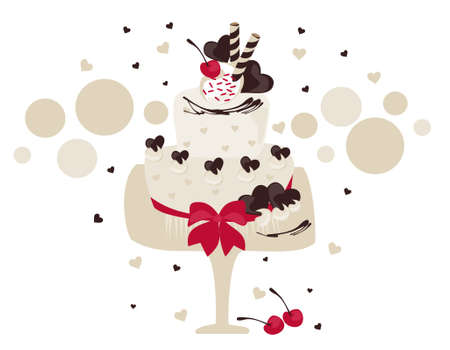 choco: White cake decorated with choco hearts, cherry and red ribbon Illustration