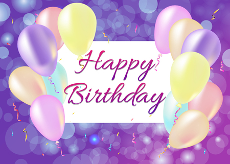 Happy Birthday card with balloons, streamers, purple background 矢量图像