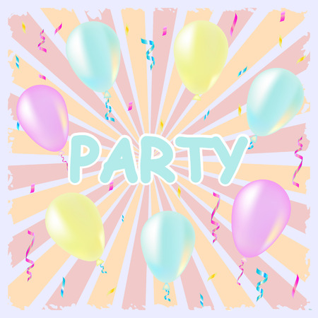 party streamers: Party and celebration background with balloons, streamers, illustration pastel color