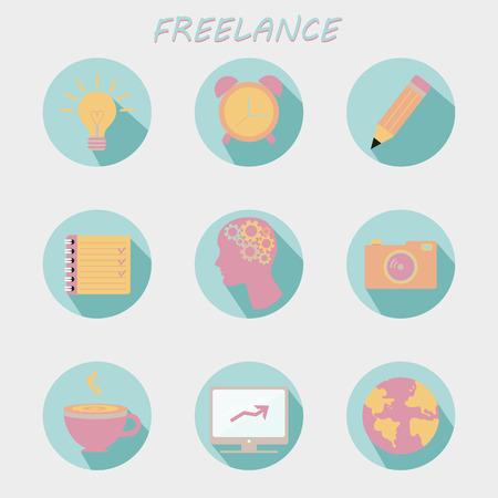freelancers: Set of Modern flat icons. collection for freelancers work at home Illustration