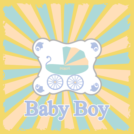 children only: Baby boy announcement card illustration.