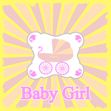 baby announcement card: Baby girl announcement card illustration. Illustration