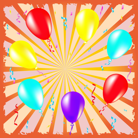 party streamers: Party and celebration background with balloons, streamers illustration bright colors