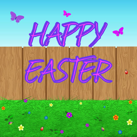 reforestation: Colorful illustration Easter with TEXT, grass, flowers, butterflies, beetles. Happy Easter. Vector
