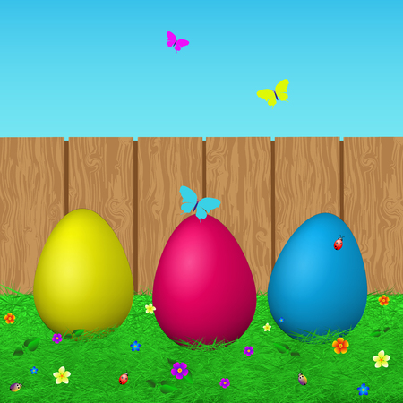 reforestation: Colorful illustration of Easter eggs on the background of sky and fence.Easter with eggs, grass, butterflies, beetles on wood background. Happy Easter. Vector