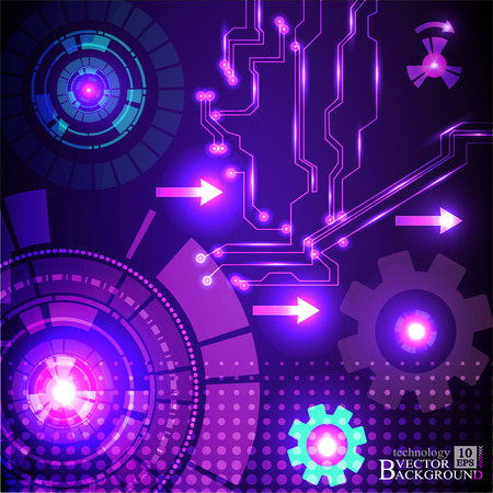 telecoms: Hi-tech digital technology and engineering, digital telecoms technology concept, Abstract futuristic- technology on purple color background