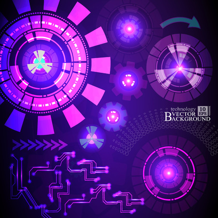 telecoms: Hi-tech digital technology and engineering, digital telecoms technology concept, Abstract futuristic- technology on purple color background. Vector