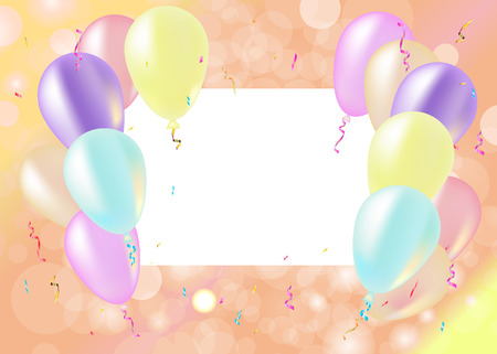 party streamers: Party and celebration background with balloons, streamers, vector illustration pastel color Illustration