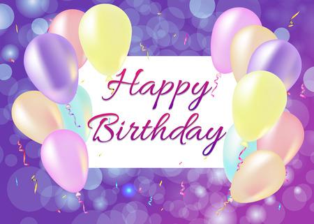 Tarjeta del feliz cumpleaños con globos, serpentinas, fondo púrpura. Vector